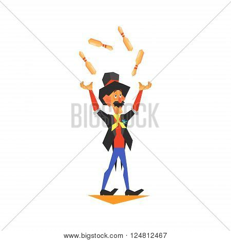 Circus Juggler Performing Graphic Flat Vector Design Isolated Illustration On White Background