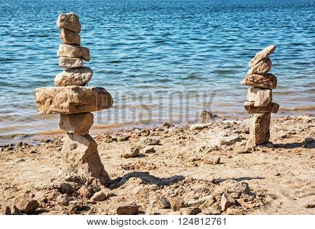 Towers of stone on the lakeside, natural scene