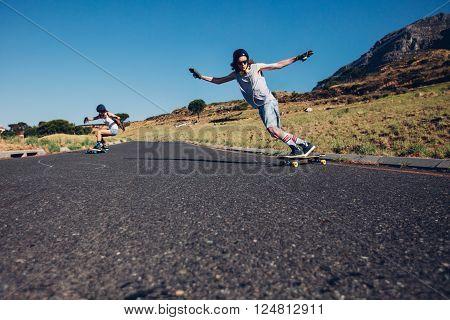 Skateboarding On The Rural Road