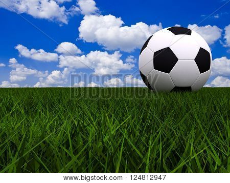 3D render soccer ball on football field under blue sky