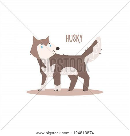 Husky Drawing For Arctic Animals Collection Of Flat Vector Illustration In Creative Style On White Background