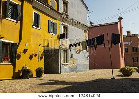Colorful Streets And Yards Of Burano Island, Venice Lagoon, Italy