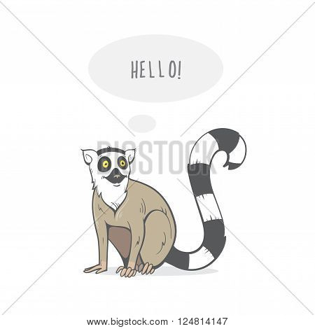 Card with cartoon ring-tailed lemur. Vector image. Hand drawn image.