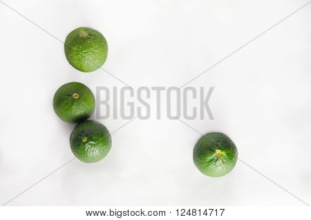 Bergamots (Other names are Kaffir lime Citrus Magnoliophyta Rutaceae) isolated on white background