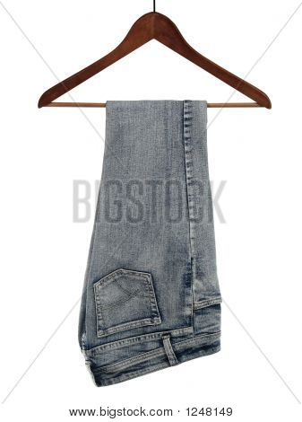 Jeans On A Wooden Hanger