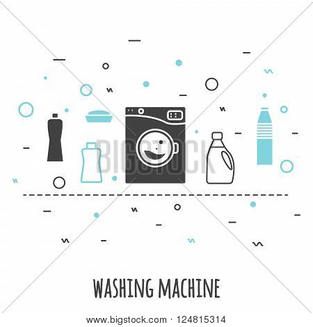 Washing machine icon in flat line style. Isolated gray and blue on white background. Outline vector icon wash machine with chemical supplies banner.