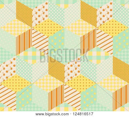 Seamless patchwork pattern with patches in pastel orange and green tones. Quilt with orange and yellow stars on green background.