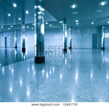 contemporary blue glass hallway
