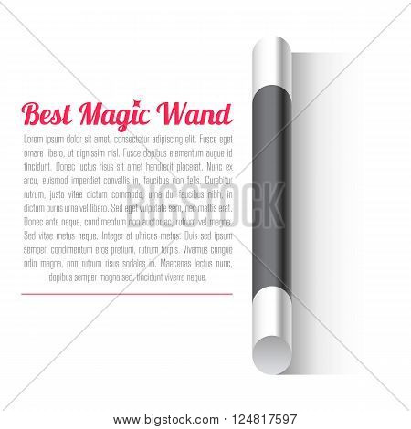 Vector Magic Wand Relistic icon. Real Magic wand on white background.
