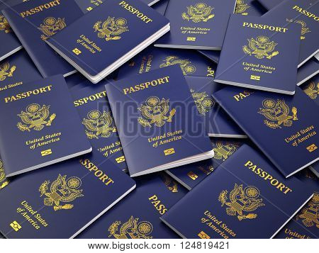 USA passport background. Immigration or travel concept. 3d illustration