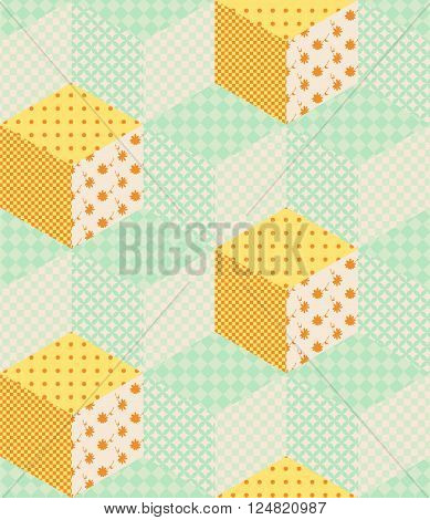 Pastel green and orange cubes. Seamless patchwork design. Vector illustration of quilt.