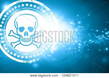 Glittering blue stamp: Poison sign background with some soft scratches and dents
