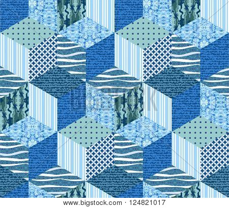 Sea seamless patchwork pattern. Vector illustration of quilt in blue tones.