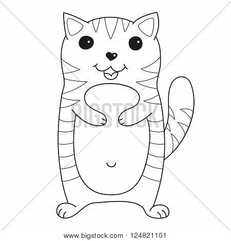 Cartoon smiling gentle kitty with stripes, vector illustration of cute loving cat, lonely kitten, coloring book page for children