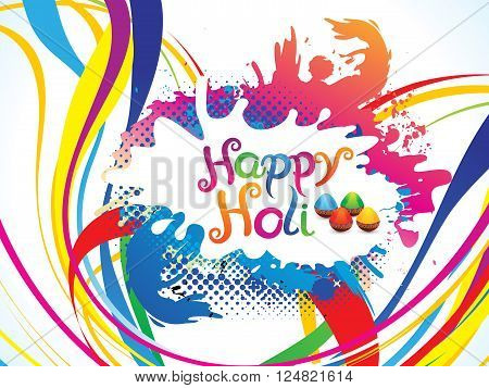 abstract artistic colorful holi explode vector illustration