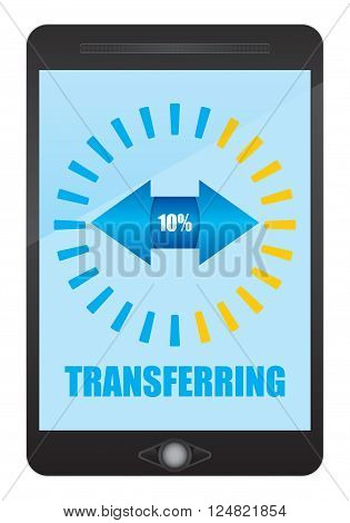 Digital data transfer sign. Abstract illustration with smartphone