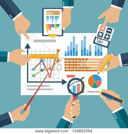 Finance Report, Concept Flat Style Vector