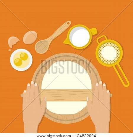Woman's Hands Knead Dough On Table