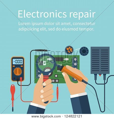 Electronics repair. Tech repairs. Service center. Soldering of electronic parts on board. Soldering iron in hand man. Solderer engineer. Repair of electronics in workshop. Vector flat design style.
