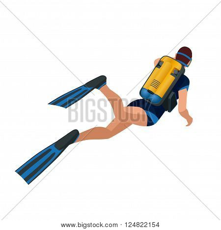 Scuba diver diving man back view. Scuba diving flat 3d isometric vector illustration. Scuba diver swimming under water