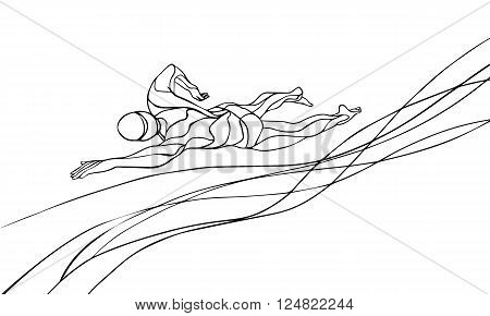 Freestyle Swimmer Line Art Silhouette. Sport swimming, front crawl. Vector Professional Swimming Athlete Illustration