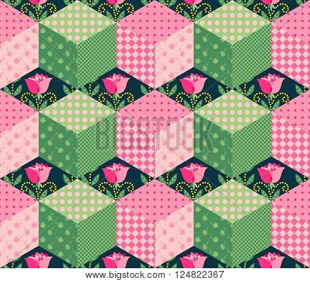 Seamless patchwork pattern with series of pink and green cubes on the background with roses. Vector illustration of quilt.
