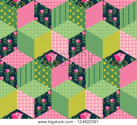 Seamless patchwork pattern with green pink and floral patches. Vector illustration