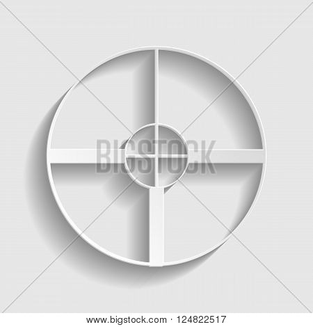 Crosshair Target  sign. Paper style icon with shadow on gray.