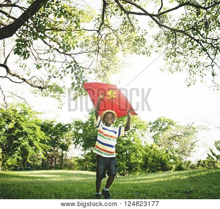 Little Boy Flying Kite Playing Cheerful Activity Concept