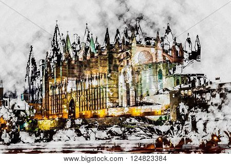 Cathedral of Palma de Mallorca La Seu night view and lake mirrored reflection of night illumination. Mallorca island, Spain. Modern painting, background illustration.
