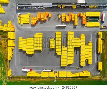 Aerial view of storage and freight terminal. Industrial background.
