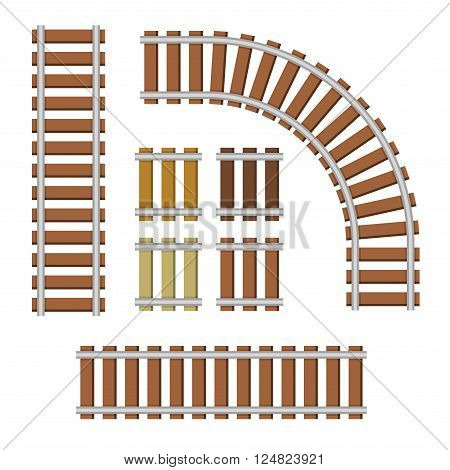 Railroad Elements Set on White Background. Vector illustration