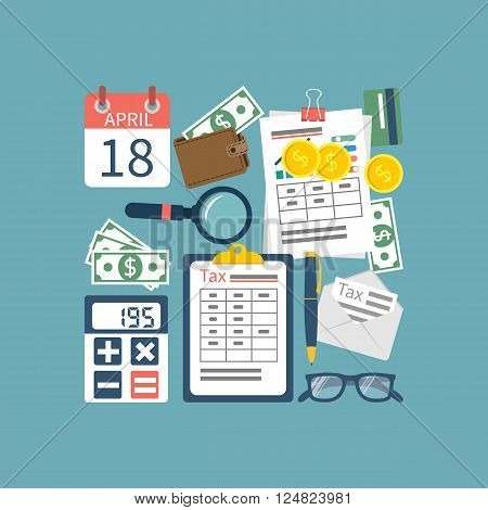 Tax icon vector. Tax payment. Government taxes. State taxes. Data analysis paperwork financial research report. Calculation of tax return. Tax form. Flat design. Tax form vector. Payment of debt.