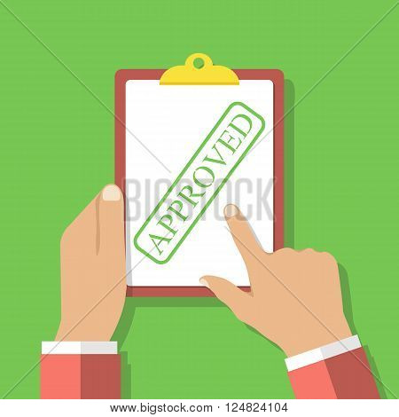 Clipboard stamped - Approved in the hands of men. Approved form vector. Concept approval document. Blank form with a seal. White list. Flat design style vector illustration.