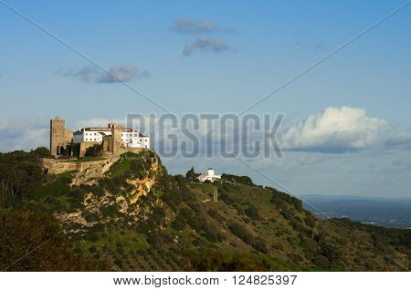 Palmela Castle On Top Of The Hill, Under Blue Sky. Portugal