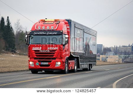 SALO, FINLAND - MARCH 24, 2016: Red Iveco Stralis Semi on the road in Salo after the Case IH Red Power Tour in Turku Finland.