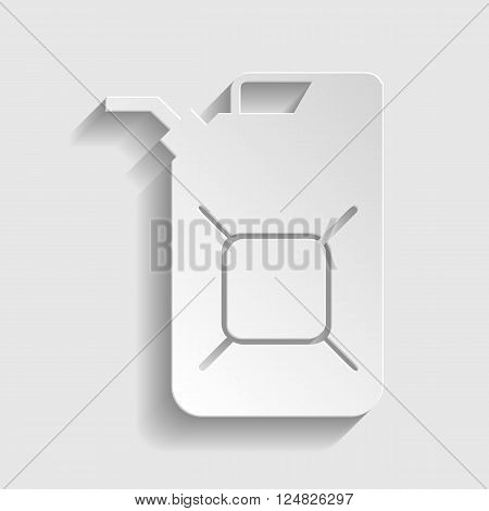 Jerrycan oil sign. Paper style icon with shadow on gray.