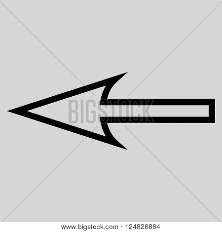 Sharp Arrow Left vector icon. Style is thin line icon symbol, black color, light gray background.
