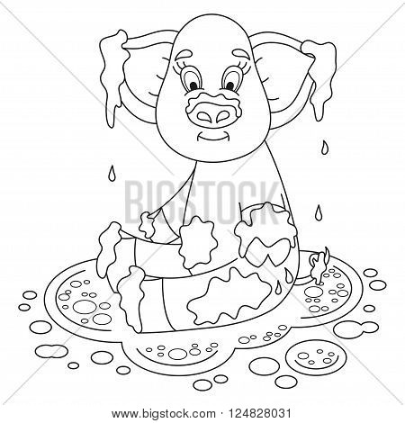 Cute pig in a puddle, funny piggy sits, laps and smile on dirt puddle, coloring book page for children, vector illustration