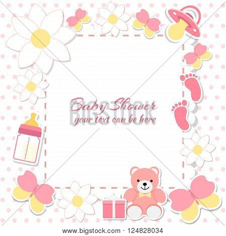 Baby shower girl invitation card. Place for text. Greeting cards. Vector illustration. Teddy bear with a gift box pink background flowers.