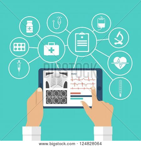 The tablet in hands of doctor. Innovative technologies in medicine. The modern doctor. Tablet computer with virtual interface icons medical. Vector illustration flat design.