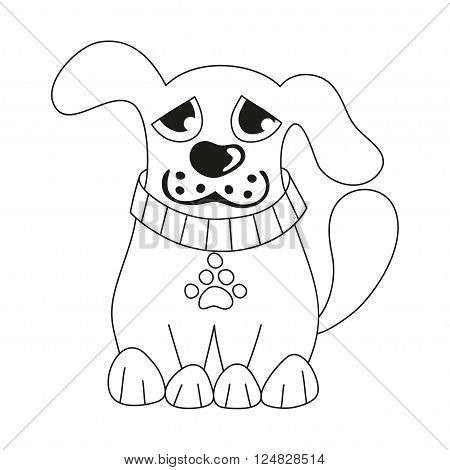 Cartoon puppy, vector illustration of cute dog wearing collar with pet paw tag, sad doggy, coloring book page for children