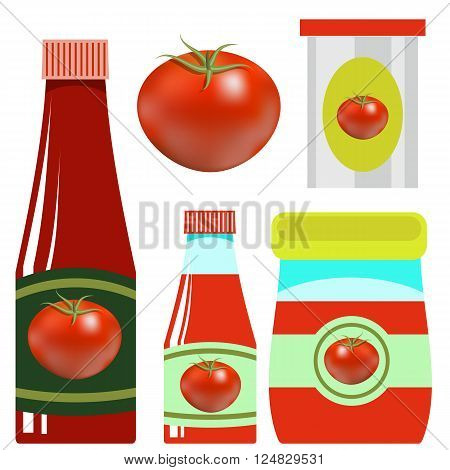 Tomato Ketchup in Glass Bottle on White Background