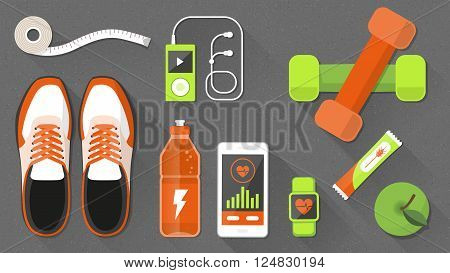 Fitness and healthy lifestyle banner with sports equipment and healthy snacks weight loss and wellness concept