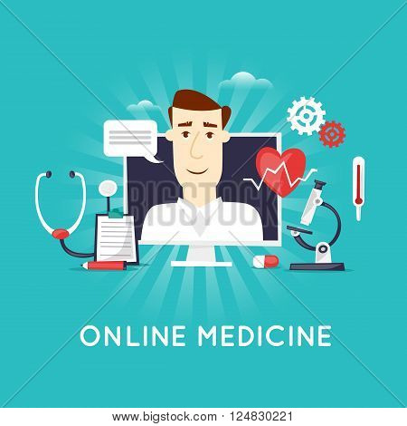 On-line medical, Health care and medical, diagnosis and treatment. On-line doctor. Flat design vector illustration.