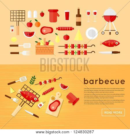Barbecue set of flat Icons. BBQ. Wooden table eating barbecue top view fish, sausage, meat. Summer picnic grill party. Flat design vector illustration.