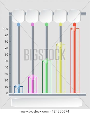 Infographics template with sliders, paper banners, graphs and arrows