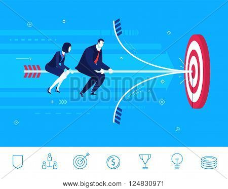 Flat design vector concept illustration. Teamwork. businessman and businesswoman hit the target. Choose the right path. Vector clipart. Icons set.