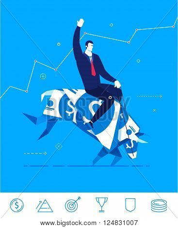 Flat design vector concept illustration. Businessman saddled bull of dollars. Hold tight success. Choose the right path. Vector clipart. Icons set.