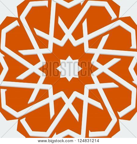 Islamic or arabic motif, sacred geometry, star mandala, round geometrical symbol for pattern, background or other purposes. Element of continious loop pattern. Vector illustration
